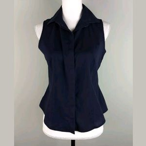 Talbots Wrinkle Resistant Button Up Navy Top